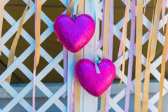 Two pink heart. Vintage style Royalty Free Stock Photos