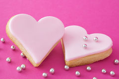 Two pink hearts Royalty Free Stock Photos