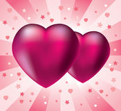 Two pink hearts Stock Images