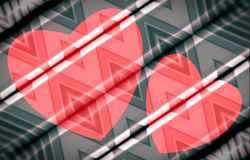 Two pink hearts on boards painted with rhombus ornament. Vector. Royalty Free Stock Photos