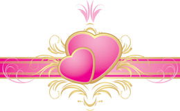 Two pink hearts on the decorative ribbon Royalty Free Stock Photo
