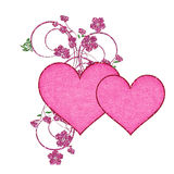 Two Pink Hearts with Glitter Flowers Royalty Free Stock Photo