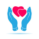 Two pink hearts icon in careful hands. Vector illustration Royalty Free Stock Images