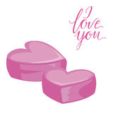Two pink hearts. Isolated icon on white background. Flat style illustration. I love you lettering stock illustration