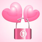 Two pink hearts lock Key. Illustration vector illustration