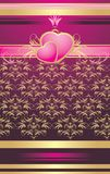 Two pink hearts with ornament. Wrapping Royalty Free Stock Photography