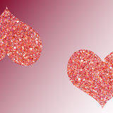 Two pink hearts, vector Stock Photos