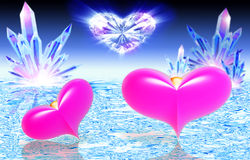 Two pink hearts on water Stock Photos