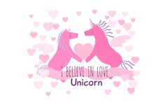 Two pink heterosexual unicorns in love greeting card. Two heterosexual pink winged unicorn horses with violet manes and tails hold the heart. I believe in love Stock Image