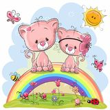 Two Pink Kittens are sitting on the rainbow Stock Image