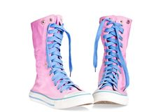 Two pink lace boots Stock Photo