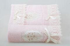 Two pink lace towel Royalty Free Stock Photos