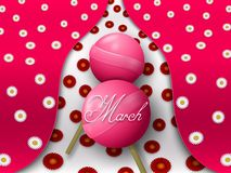 Two pink lollipops form the figure eight on a colorful background with flowers. stock illustration