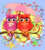 Two pink, moth-owl-girls sit on a rainbow under a pink umbrella. The inscription I love you. Concept of homosexual female love,. Two pink, moth-owl-girls sit on royalty free illustration