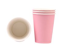 Two pink paper coffee cup. Royalty Free Stock Image