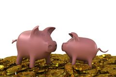 Two pink piggy bank on the golden dollar coins Stock Images