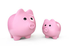 Two Pink Piggy banks style money boxes Royalty Free Stock Image