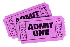 Two pink purple admit one cinema theater tickets isolated. Two pink purple admit one tickets isolated stock images