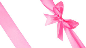 Two pink ribbons with bow Stock Images