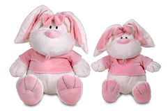 Two pink toy rabbits Royalty Free Stock Image