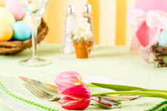 Pink Tulips On An Easter Table Stock Image