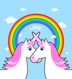 Two pink unicorn and rainbow love. Symbol of LGBT community. Fan Stock Images