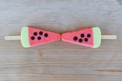 Two pink watermelon ice cream stock photo