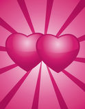 Two pinks hearts Stock Images