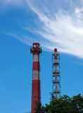 Two pipe plant on blue sky background Royalty Free Stock Photography