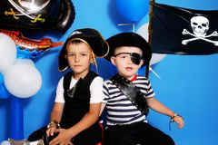 Two pirate. On a blue background Royalty Free Stock Photos