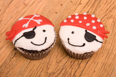 Two Pirate Cupcakes Royalty Free Stock Photography