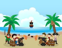 Two pirate groups are fighting on the beach. Full colour Royalty Free Stock Images