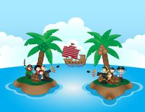 Two pirate groups are fighting in small island. Full colour Royalty Free Stock Photography