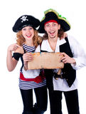 Two pirate man and a woman Royalty Free Stock Photos