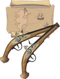 Two Pirate pistol and Map. Illustration vector and raster Stock Photo