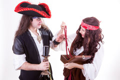 Two pirates found box of tresure Royalty Free Stock Photos