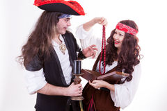 Two pirates found box of tresure Stock Image