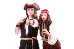 Two pirates on white background. Studio shooting Royalty Free Stock Image