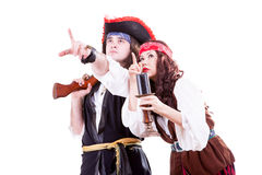 Two pirates on white background. Studio shooting Royalty Free Stock Photos