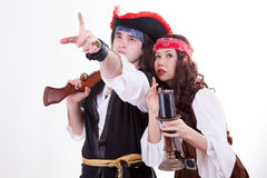 Two pirates on white background. Studio shooting Stock Photography