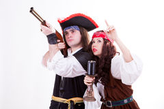Two pirates on white background Royalty Free Stock Photography