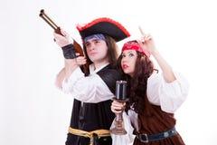 Two pirates on white background. Studio shooting Royalty Free Stock Photography