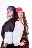 Two pirates on white background Royalty Free Stock Photos