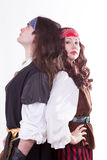 Two pirates on white background Stock Photos