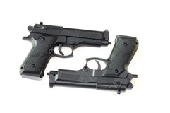 Two Pistols. A photo taken on two pistols placed side by side Stock Photography