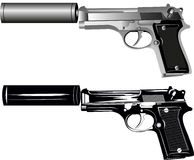 Two pistols. Vector image of two pistols on white background Royalty Free Illustration