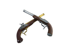 Two pistols. Two old pistols on white isolated background Royalty Free Stock Image