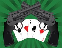 Two pistols and aces Stock Image