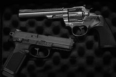 Two Pistols Handguns for Self Defense or Military Royalty Free Stock Images