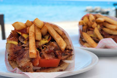 Two pita gyros Royalty Free Stock Image